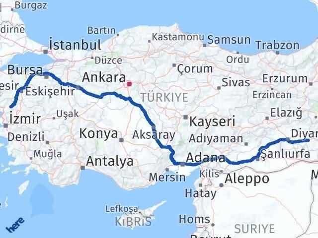 İzmir Kınık   Batman Arası Kaç Km? Arası Kaç Km Saat? Nerede Yol Haritası Yakıt, Rota ve Mesafe Hesaplama