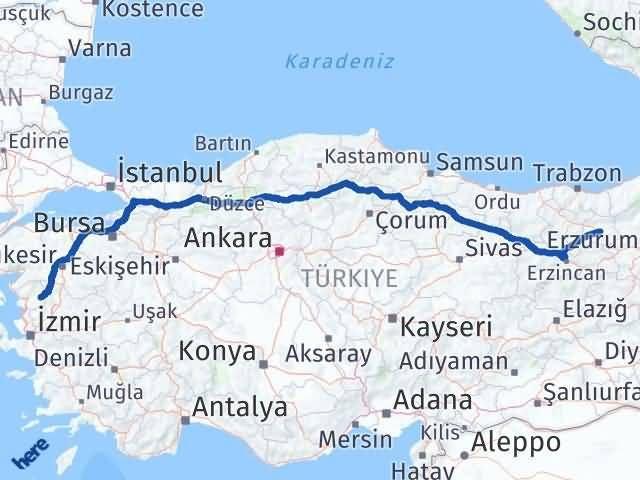 İzmir Kınık   Bayburt Arası Kaç Km? Arası Kaç Km Saat? Nerede Yol Haritası Yakıt, Rota ve Mesafe Hesaplama