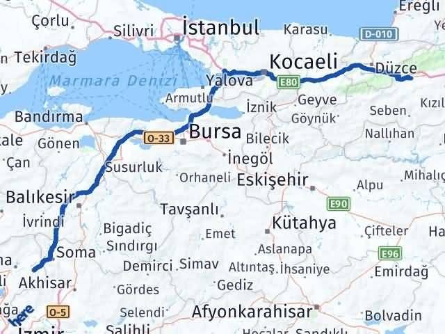 İzmir Kınık   Bolu Arası Kaç Km? Arası Kaç Km Saat? Nerede Yol Haritası Yakıt, Rota ve Mesafe Hesaplama