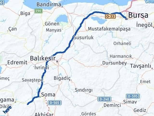 İzmir Kınık   Bursa Arası Kaç Km? Arası Kaç Km Saat? Nerede Yol Haritası Yakıt, Rota ve Mesafe Hesaplama