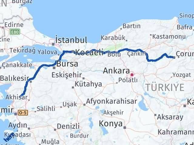 İzmir Kınık   Çorum Arası Kaç Km? Arası Kaç Km Saat? Nerede Yol Haritası Yakıt, Rota ve Mesafe Hesaplama