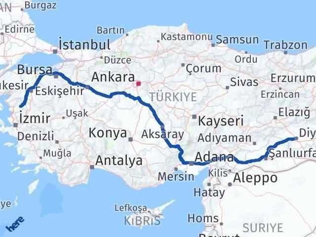 İzmir Kınık   Diyarbakır Arası Kaç Km? Arası Kaç Km Saat? Nerede Yol Haritası Yakıt, Rota ve Mesafe Hesaplama