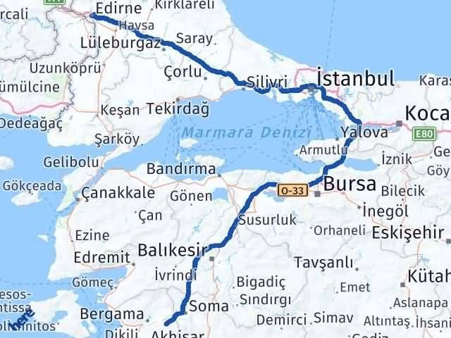 İzmir Kınık   Edirne Arası Kaç Km? Arası Kaç Km Saat? Nerede Yol Haritası Yakıt, Rota ve Mesafe Hesaplama