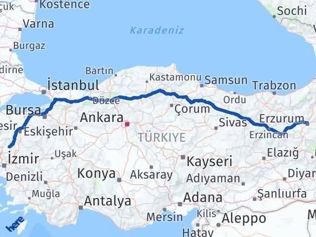 İzmir Kınık   Erzurum Arası Kaç Km? Arası Kaç Km Saat? Nerede Yol Haritası Yakıt, Rota ve Mesafe Hesaplama