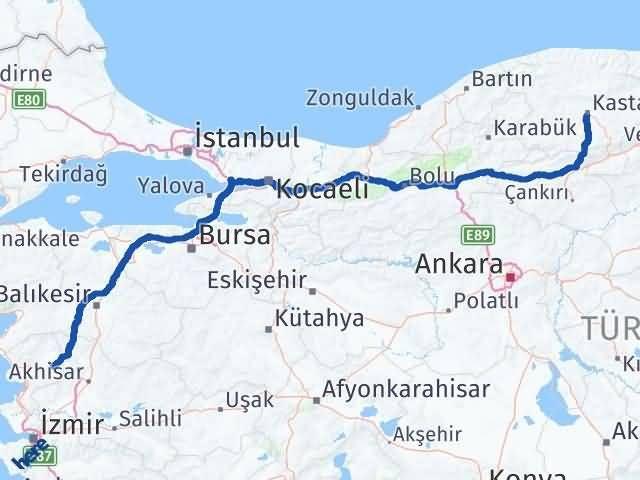 İzmir Kınık   Kastamonu Arası Kaç Km? Arası Kaç Km Saat? Nerede Yol Haritası Yakıt, Rota ve Mesafe Hesaplama