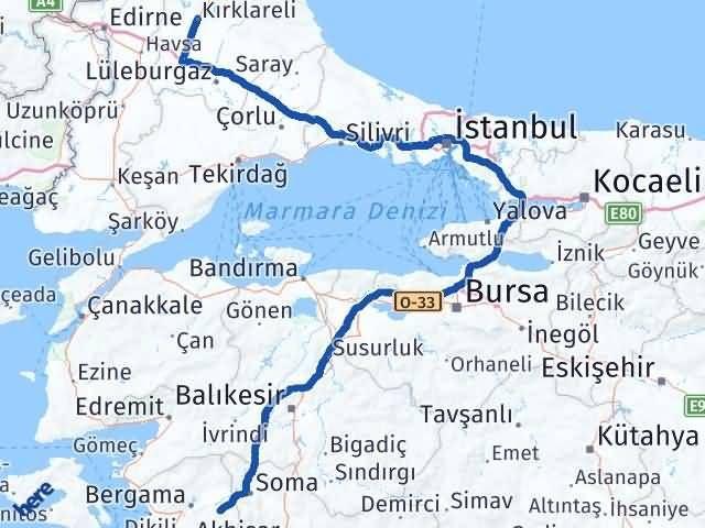 İzmir Kınık   Kırklareli Arası Kaç Km? Arası Kaç Km Saat? Nerede Yol Haritası Yakıt, Rota ve Mesafe Hesaplama