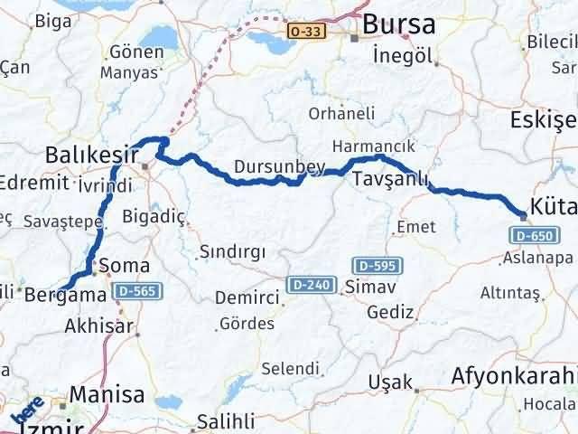 İzmir Kınık   Kütahya Arası Kaç Km? Arası Kaç Km Saat? Nerede Yol Haritası Yakıt, Rota ve Mesafe Hesaplama