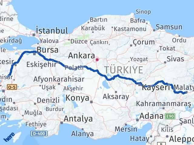 İzmir Kınık   Malatya Arası Kaç Km? Arası Kaç Km Saat? Nerede Yol Haritası Yakıt, Rota ve Mesafe Hesaplama