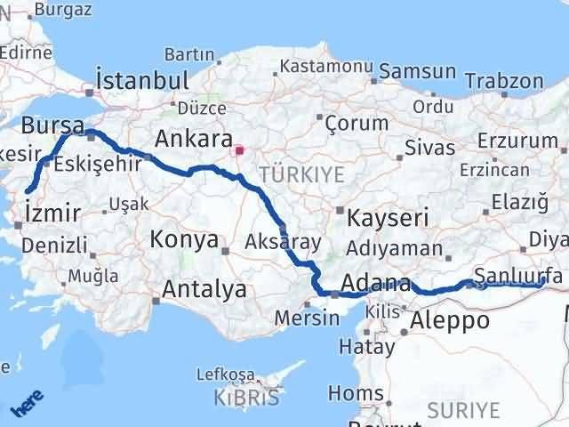 İzmir Kınık   Mardin Arası Kaç Km? Arası Kaç Km Saat? Nerede Yol Haritası Yakıt, Rota ve Mesafe Hesaplama