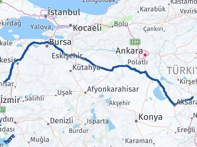 İzmir Kınık   Nevşehir Arası Kaç Km? Arası Kaç Km Saat? Nerede Yol Haritası Yakıt, Rota ve Mesafe Hesaplama