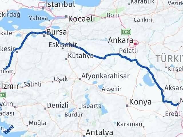 İzmir Kınık   Niğde Arası Kaç Km? Arası Kaç Km Saat? Nerede Yol Haritası Yakıt, Rota ve Mesafe Hesaplama