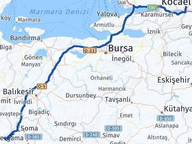 İzmir Kınık   Sakarya Arası Kaç Km? Arası Kaç Km Saat? Nerede Yol Haritası Yakıt, Rota ve Mesafe Hesaplama