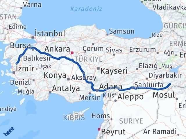 İzmir Kınık   Şırnak Arası Kaç Km? Arası Kaç Km Saat? Nerede Yol Haritası Yakıt, Rota ve Mesafe Hesaplama
