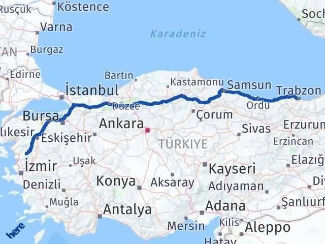 İzmir Kınık   Trabzon Arası Kaç Km? Arası Kaç Km Saat? Nerede Yol Haritası Yakıt, Rota ve Mesafe Hesaplama