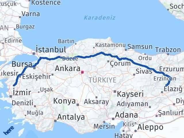 İzmir Kınık   Tunceli Arası Kaç Km? Arası Kaç Km Saat? Nerede Yol Haritası Yakıt, Rota ve Mesafe Hesaplama