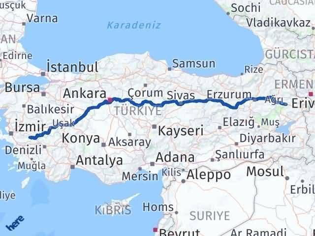 İzmir Kiraz   Ağrı Arası Kaç Km? Arası Kaç Km Saat? Nerede Yol Haritası Yakıt, Rota ve Mesafe Hesaplama
