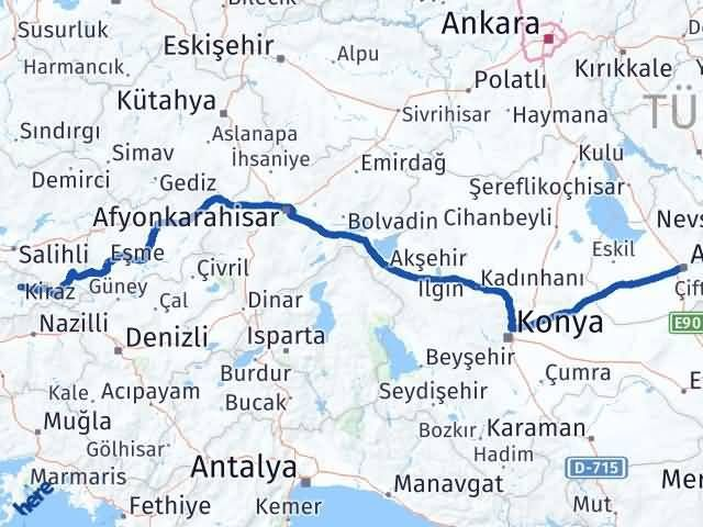 İzmir Kiraz   Aksaray Arası Kaç Km? Arası Kaç Km Saat? Nerede Yol Haritası Yakıt, Rota ve Mesafe Hesaplama