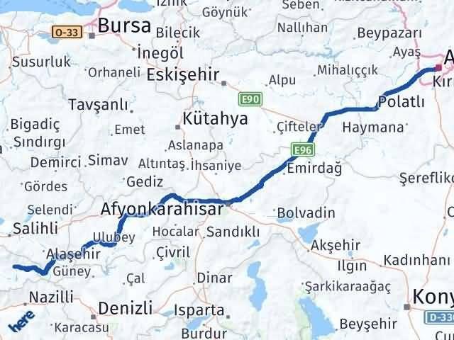 İzmir Kiraz   Ankara Arası Kaç Km? Arası Kaç Km Saat? Nerede Yol Haritası Yakıt, Rota ve Mesafe Hesaplama