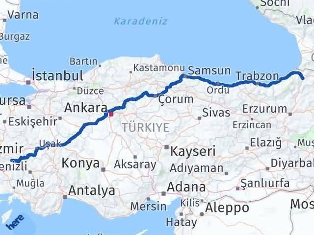 İzmir Kiraz   Artvin Arası Kaç Km? Arası Kaç Km Saat? Nerede Yol Haritası Yakıt, Rota ve Mesafe Hesaplama