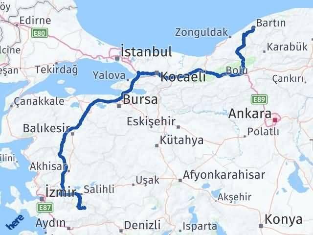İzmir Kiraz   Bartın Arası Kaç Km? Arası Kaç Km Saat? Nerede Yol Haritası Yakıt, Rota ve Mesafe Hesaplama