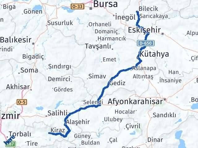 İzmir Kiraz   Bilecik Arası Kaç Km? Arası Kaç Km Saat? Nerede Yol Haritası Yakıt, Rota ve Mesafe Hesaplama