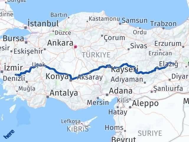 İzmir Kiraz   Bingöl Arası Kaç Km? Arası Kaç Km Saat? Nerede Yol Haritası Yakıt, Rota ve Mesafe Hesaplama