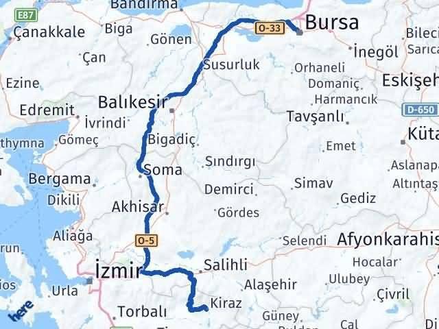 İzmir Kiraz   Bursa Arası Kaç Km? Arası Kaç Km Saat? Nerede Yol Haritası Yakıt, Rota ve Mesafe Hesaplama