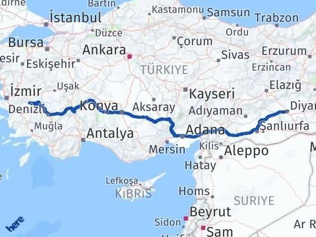 İzmir Kiraz   Diyarbakır Arası Kaç Km? Arası Kaç Km Saat? Nerede Yol Haritası Yakıt, Rota ve Mesafe Hesaplama