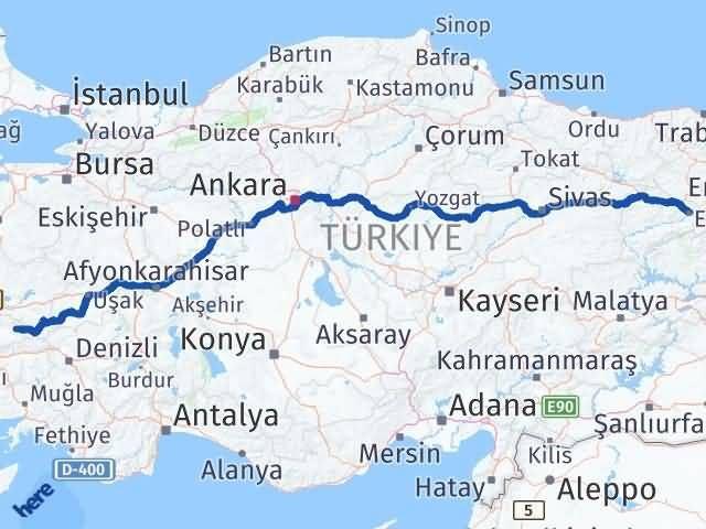 İzmir Kiraz   Erzincan Arası Kaç Km? Arası Kaç Km Saat? Nerede Yol Haritası Yakıt, Rota ve Mesafe Hesaplama