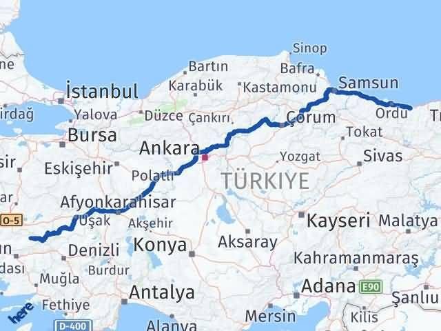 İzmir Kiraz   Giresun Arası Kaç Km? Arası Kaç Km Saat? Nerede Yol Haritası Yakıt, Rota ve Mesafe Hesaplama