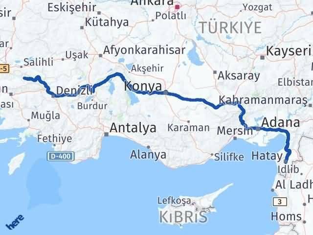 İzmir Kiraz   Hatay Arası Kaç Km? Arası Kaç Km Saat? Nerede Yol Haritası Yakıt, Rota ve Mesafe Hesaplama