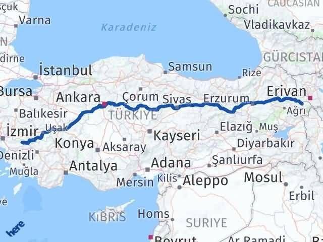 İzmir Kiraz   Iğdır Arası Kaç Km? Arası Kaç Km Saat? Nerede Yol Haritası Yakıt, Rota ve Mesafe Hesaplama