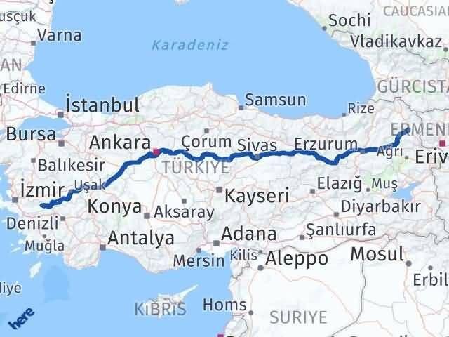 İzmir Kiraz   Kars Arası Kaç Km? Arası Kaç Km Saat? Nerede Yol Haritası Yakıt, Rota ve Mesafe Hesaplama