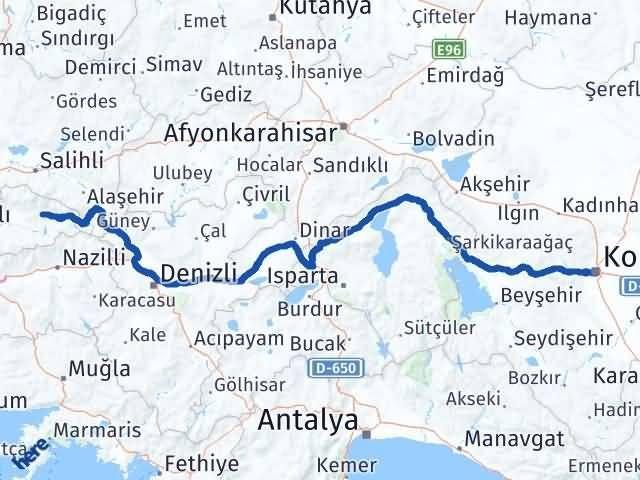 İzmir Kiraz   Konya Arası Kaç Km? Arası Kaç Km Saat? Nerede Yol Haritası Yakıt, Rota ve Mesafe Hesaplama