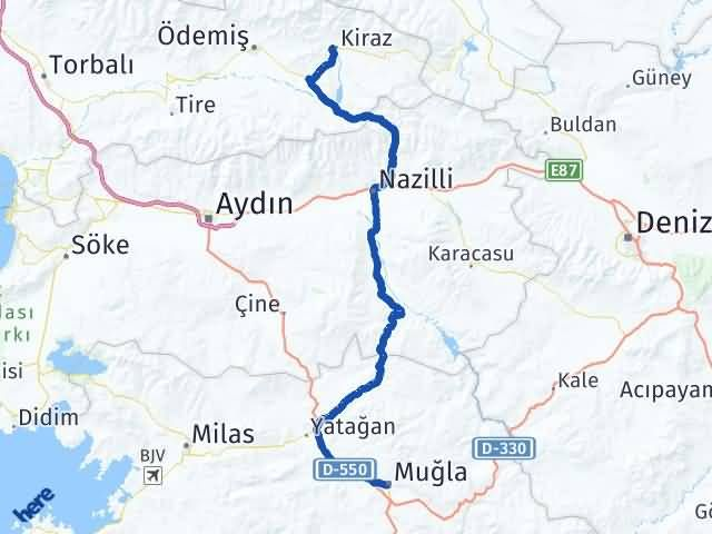 İzmir Kiraz   Muğla Arası Kaç Km? Arası Kaç Km Saat? Nerede Yol Haritası Yakıt, Rota ve Mesafe Hesaplama