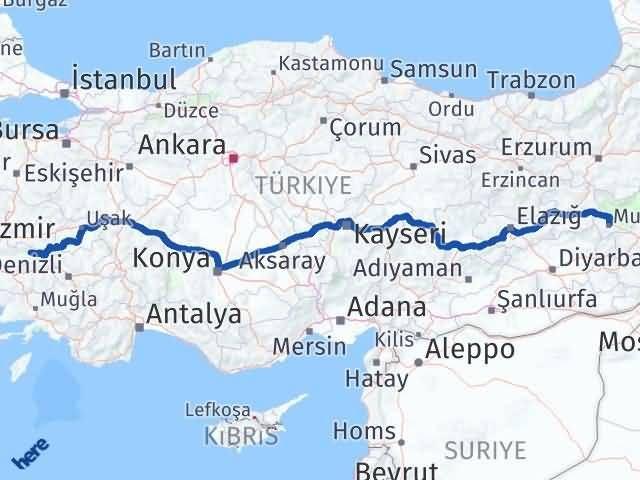 İzmir Kiraz   Muş Arası Kaç Km? Arası Kaç Km Saat? Nerede Yol Haritası Yakıt, Rota ve Mesafe Hesaplama