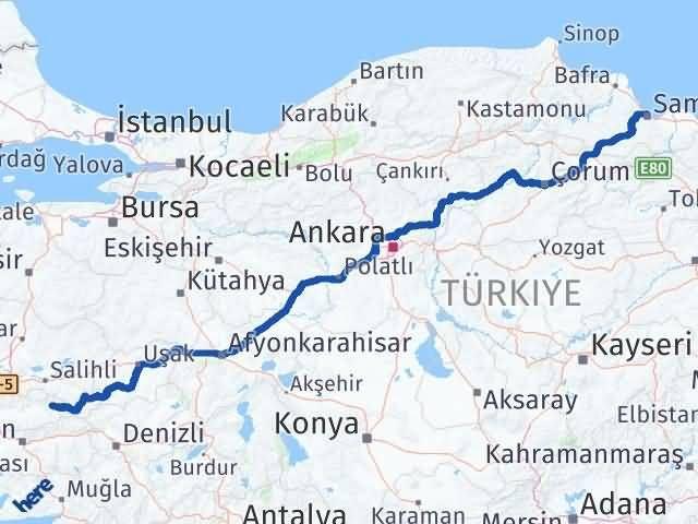 İzmir Kiraz   Samsun Arası Kaç Km? Arası Kaç Km Saat? Nerede Yol Haritası Yakıt, Rota ve Mesafe Hesaplama