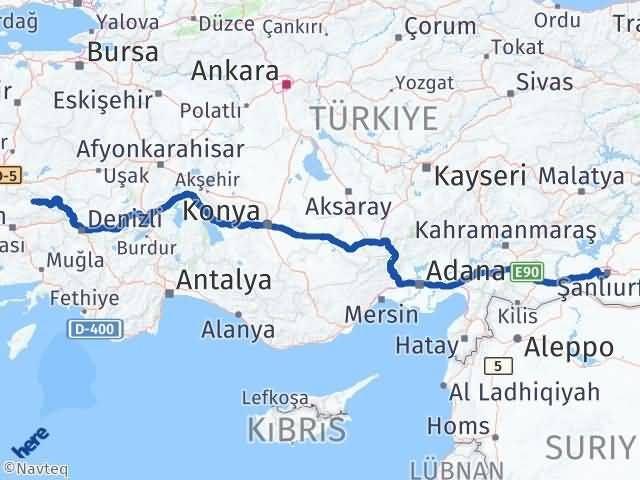 İzmir Kiraz   Şanlıurfa Arası Kaç Km? Arası Kaç Km Saat? Nerede Yol Haritası Yakıt, Rota ve Mesafe Hesaplama
