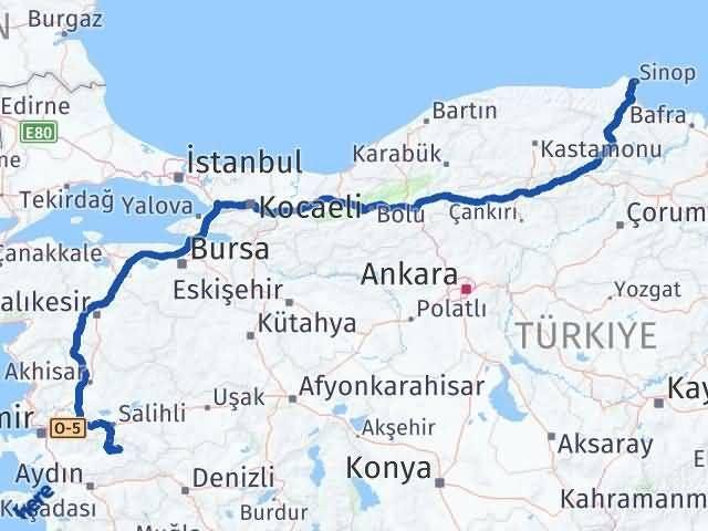 İzmir Kiraz   Sinop Arası Kaç Km? Arası Kaç Km Saat? Nerede Yol Haritası Yakıt, Rota ve Mesafe Hesaplama