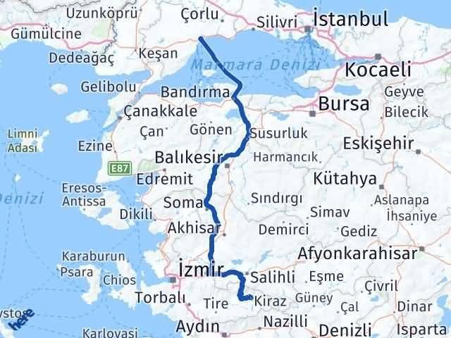 İzmir Kiraz   Tekirdağ Arası Kaç Km? Arası Kaç Km Saat? Nerede Yol Haritası Yakıt, Rota ve Mesafe Hesaplama