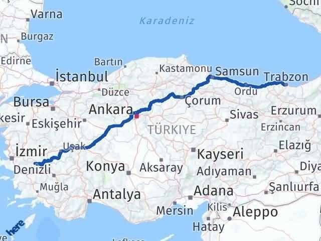 İzmir Kiraz   Trabzon Arası Kaç Km? Arası Kaç Km Saat? Nerede Yol Haritası Yakıt, Rota ve Mesafe Hesaplama