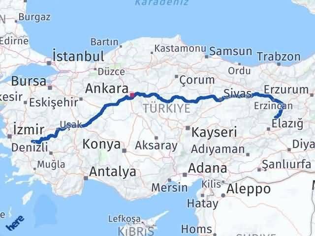 İzmir Kiraz   Tunceli Arası Kaç Km? Arası Kaç Km Saat? Nerede Yol Haritası Yakıt, Rota ve Mesafe Hesaplama