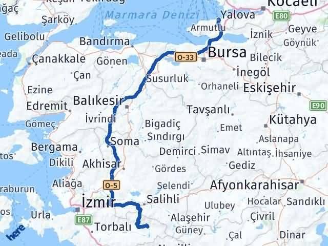 İzmir Kiraz   Yalova Arası Kaç Km? Arası Kaç Km Saat? Nerede Yol Haritası Yakıt, Rota ve Mesafe Hesaplama