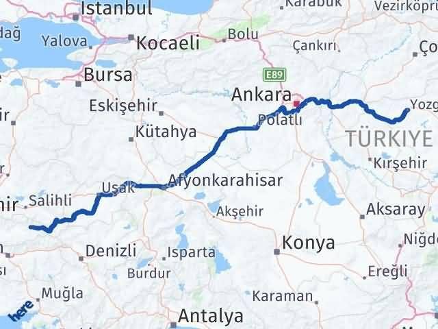 İzmir Kiraz   Yozgat Arası Kaç Km? Arası Kaç Km Saat? Nerede Yol Haritası Yakıt, Rota ve Mesafe Hesaplama