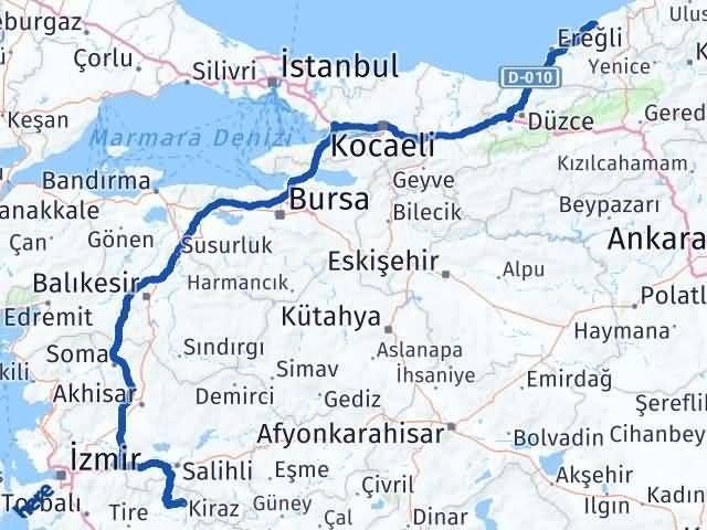 İzmir Kiraz   Zonguldak Arası Kaç Km? Arası Kaç Km Saat? Nerede Yol Haritası Yakıt, Rota ve Mesafe Hesaplama