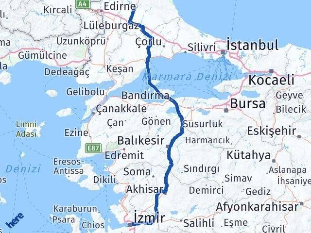 İzmir Kırklareli Arası Kaç Km?