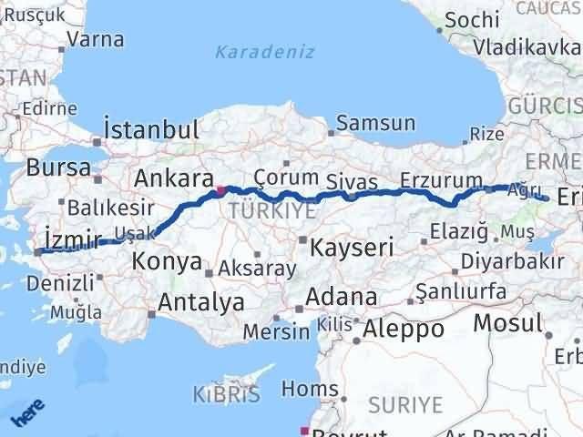 İzmir Konak   Ağrı Arası Kaç Km? Arası Kaç Km Saat? Nerede Yol Haritası Yakıt, Rota ve Mesafe Hesaplama