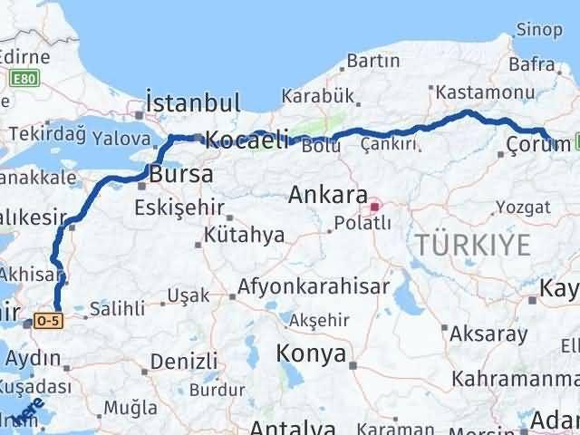 İzmir Konak   Amasya Arası Kaç Km? Arası Kaç Km Saat? Nerede Yol Haritası Yakıt, Rota ve Mesafe Hesaplama