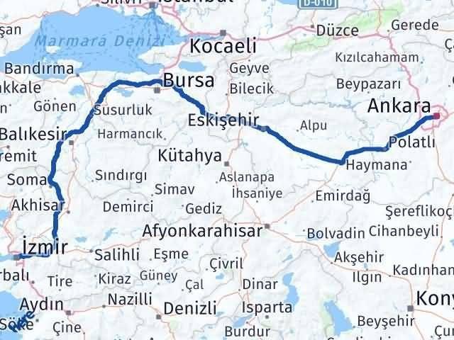 İzmir Konak   Ankara Arası Kaç Km? Arası Kaç Km Saat? Nerede Yol Haritası Yakıt, Rota ve Mesafe Hesaplama