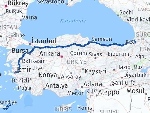 İzmir Konak   Artvin Arası Kaç Km? Arası Kaç Km Saat? Nerede Yol Haritası Yakıt, Rota ve Mesafe Hesaplama